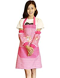 Bargain Aimeio Cute Cartoon Shy Bear Lace Apron and Arm Covers deliver