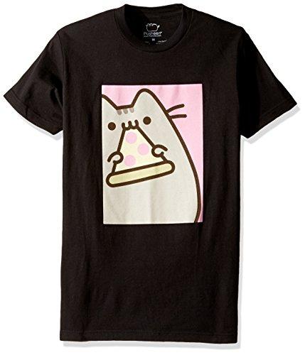 Pusheen Men's Framed Eating Pizza T-Shirt, Black, Medium Eating Framed
