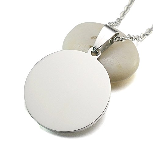 3pc Stainless Steel Blank Necklace Pendants- Large Engraving, Stamping Discs- Lead Nickel Free- 42mm or 1.6 inch Steel Disk