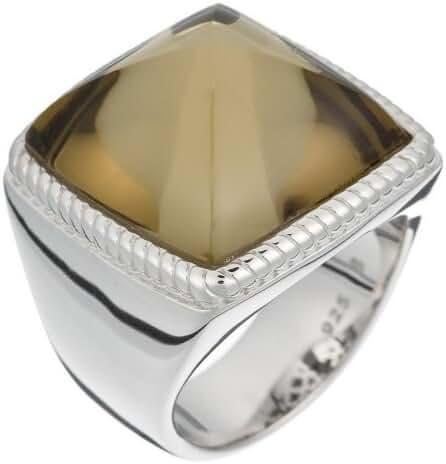 ESPRIT Women's Magic Square Taupe Silver Cubic Zirconia Ring