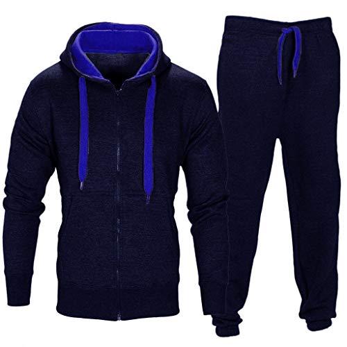 Price comparison product image Mens Coat Sweatpants Set, Stretchy Trousers Hooded Coat Jacket Pants Jogging Sports Tracksuit (Navy -2