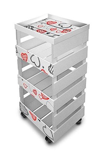 carrello da cucina multiuso trasportabile con vassoio trolley box tray 30x40cm h85 hearts