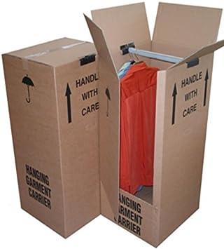 Armario fuerte de almacenamiento para mudanza, caja, contenedor con barra para colgar de 51 cm x 48 cm x 125 cm, de cartón grueso para vestidos y ropa. Con cajas de envío: