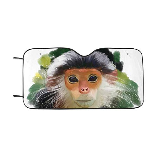INTERESTPRINT The Red-Shanked Douc Langur Watercolor Painting Auto Sun Shade Universal Size Fit 55