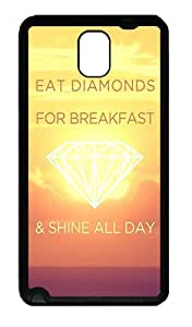 Galaxy Note 3 Case, Note 3 Cases - Eat Diamonds For Breakfast Soft Rubber Bumper Case for Samsung Galaxy Note 3 N9000 TPU Black
