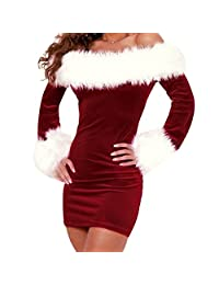 Womens Xmas Santa Claus Christmas Costume Cosplay Fur Collar Lingerie Dress