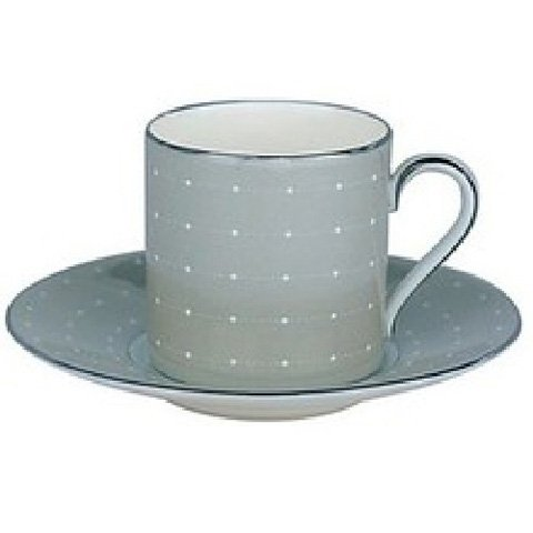 Royal Doulton Monique Lhuiller Etoile Platinum 2-inch Blue Espresso Cup & Saucer, 4-ounce, Set of 2