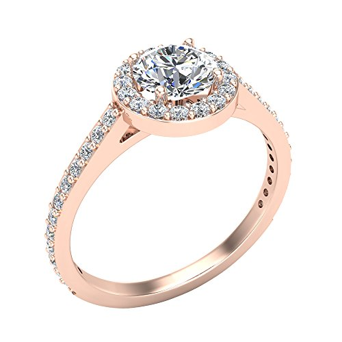 Round Brilliant Cut Diamond Dainty Halo Engagement Ring 1.15 carat total 14K Gold (J,I1)