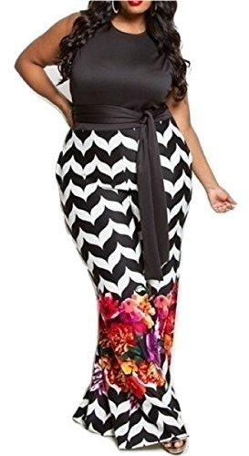 L'Diva Couture Boutique Women's Black Floral Jumpsuit, Plus Size (2X) Diva Jumpsuit
