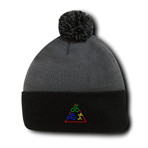 Triathlon Logo Embroidery Embroidered Pom Pom Beanie Skully Hat Cap Gray - Triathlon Gb