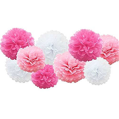 Clearance Sale!UMFun 9pcs Tissue Paper Pompoms Flower Balls Fluffy Christmas Wedding Party Decoration (C) ()