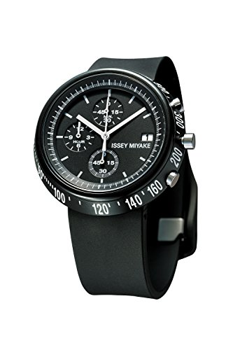 ISSEY MIYAKE Men's 'Trapezoid' Quartz Stainless Steel and Polyurethane Casual Watch, Color:Black (Model: SILAZ004)