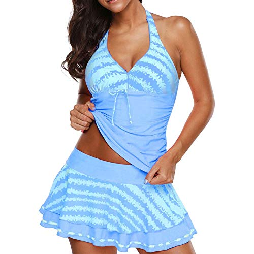 Women Plus Size Bowknot Swimsuits 3Pcs for Women Tankini with Skort Striped Swimsuit by Lowprofile -