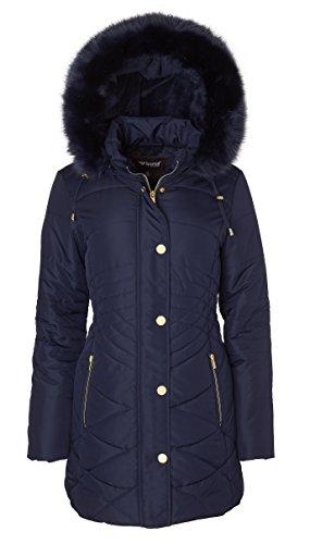 Blue Short Coats - Sportoli Women's Longer Length Plush Lined Puffer Coat Zip-Off Detacheable Fur Trim Hood - Stormy Night (Small)