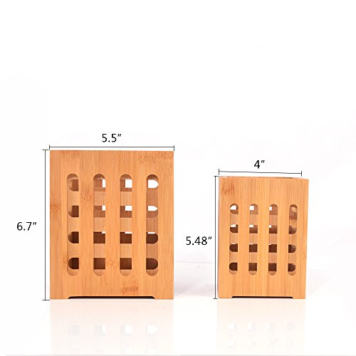 SZUAH Bamboo Utensil Holder + Flatware Holder, Large Capacity Utensil Cutlery Caddy Organizer with Drainer Holes & Lattice, 2 Pack (6.6x5.5, 5.48x4) by SZUAH (Image #5)