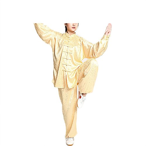 KIKIGOAL Unisex Jacquard Chinese Traditional Silk Tai Chi Uniform Kung Fu Clothing for Men and Women (L, yellow)