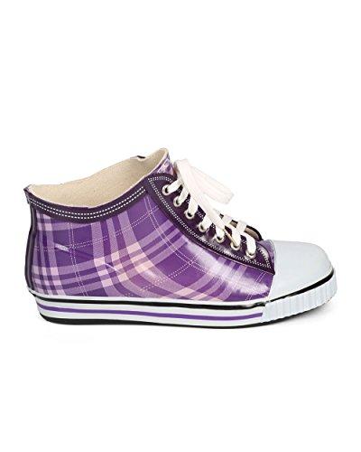 Misbehave Di72 Femmes Gelée À Carreaux Toe Classique Pull Sur La Pluie Sneaker Violet