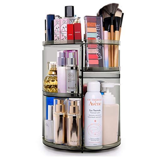 360 Degree Rotation Makeup Organizer Gray, Lazy Susan Cosmetics Storage Shelf Makeup Carousel Rotating Display Rack…