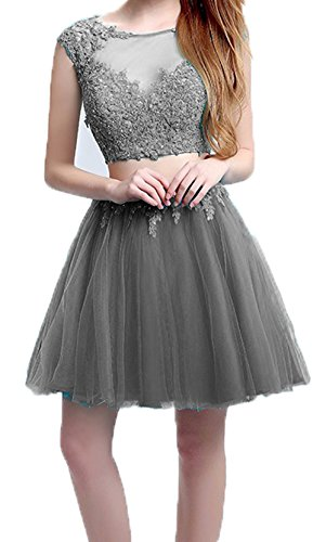 Homecoming Grey Party Piece BessDress Dresses Short Two Cocktail Short Cap BD308 Lace Sleeves 5gnAqw76