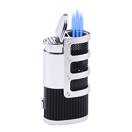 Jet Flame Torch Triple Butane Cigarette Gas Cigar Lighter With Gift Box (Black (Steel Butane Lighter)