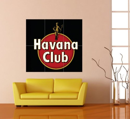 Rum Club Havana (Doppelganger33 LTD Havana Club Black Emblem Logo RED DISC Rum Alcohol Cuba Giant Poster B153)