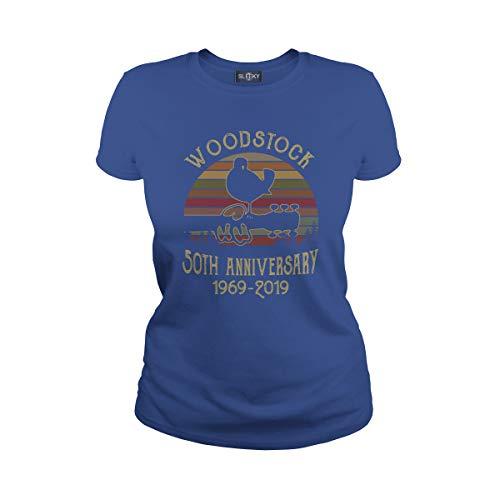 Women's Woodstock 50th Anniversary 1969 2019 Ladies T-Shirt (S, Royal - Tee Woodstock Ladies
