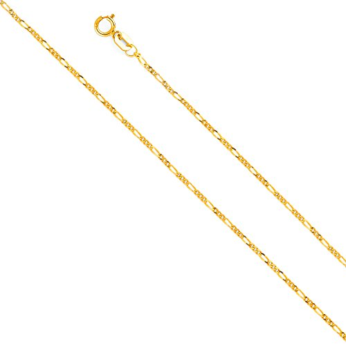- 14k Yellow Gold Solid 1.5mm Figaro Chain Necklace with Spring Ring Clasp - 20