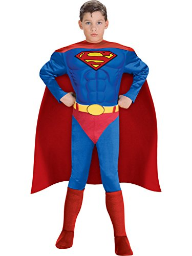 Super DC Heroes Deluxe Muscle Chest Superman Costume, Child's Small -