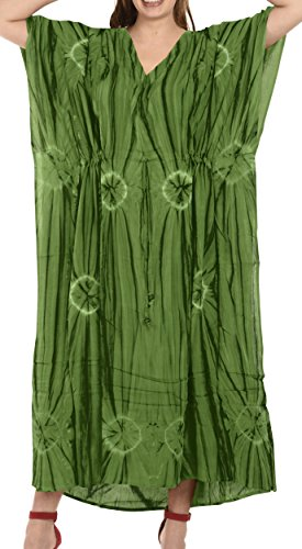 Wear Caftan (La Leela Rayon Tie Dye Resort Wear Island Party Kaftan Boho Top Blouse Lightweight Designer Cover UPS Green)