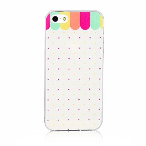 JewelryWe kleine Sternen Regenbogen Farbton TPU Silikon Handy Case Schutzhülle Tasche Hülle Rückenschutzhülle Etui für Apple iPhone 5/5S mehrfarbig