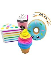 Squishies Pack of 4 pcs Jumbo Slow Rising Prime Large Soft Cream Scented Squishy Toys UK Donut Ice Cream Cake Coffee Squeeze Gift Set for Kids Adults SK