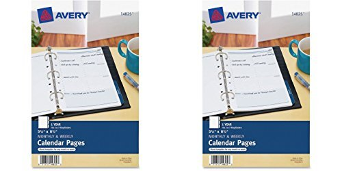 Avery Mini Monthly and Weekly Calendar Pages, 5.5 x 8.5 inches (14825), 2 Packs