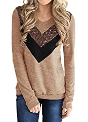 Y-Coffee Casual Long Sleeve Pullover Shirt With Sequins