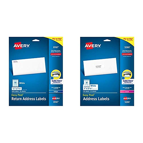 - Avery Address Labels with Sure Feed for Inkjet Printers, 0.5