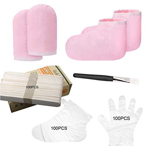 Paraffin Wax for Hands & Feet Paraffin Wax Warmer Quick-Heating Paraffin Wax Machine Moisturizing Kit with Paraffin Wax Refill Thermal Mitts Gloves Silicone Brush Paraffin Bath Spa