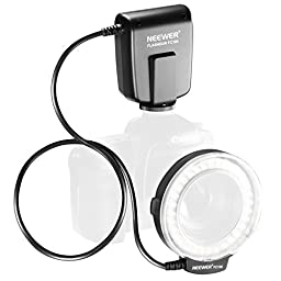 Neewer FC100 32 Super Bright LED Macro Ring Flash For Canon, Nikon,Olympus, Pentax SLR Cameras (Will Fit 52, 55, 58, 62, 67, 72, 77mm Lenses) Canon Digital EOS Rebel T1i (500D), T2i (550D), XSI (450D),XTI (400D), XT (350D), 60D , 50D, 40D, 30D, 20D, 10D,