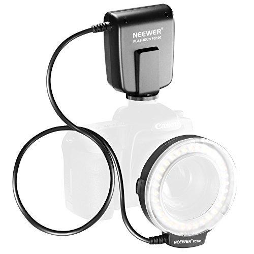 Neewer FC100 32 Super Bright LED Macro Ring Flash For Canon, Nikon,Olympus, Pentax SLR Cameras (Will Fit 52, 55, 58, 62, 67, 72, 77mm Lenses) Canon Digital EOS Rebel T1i (500D), T2i (550D), XSI (450D),XTI (400D), XT (350D), 60D , 50D, 40D, 30D, 20D, 10D,