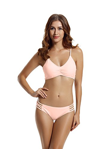 zeraca Women's Strap Side Bottom Halter Racerback Bikini Swimwear (XL18, Euphoria Pink)