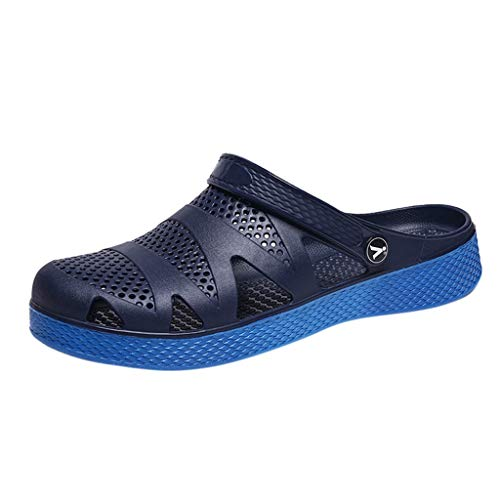 Kinglly Men Solid Casual Shoes Fashion Beach Sandal Mesh Breathable Flip Flops Shoes Clogs Moccasins Blue