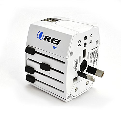 Travel Adapter, OREI Worldwide All in One Universal Power Converters Wall AC Power Plug Adapter Power Plug Wall Charger with Dual USB Charging Ports for USA EU UK AUS Cell phone Laptop by Orei (Image #3)