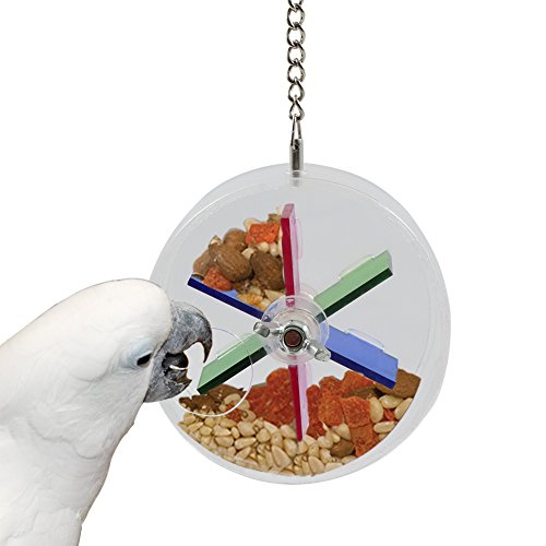 Parrot Foraging Toys with Hanging Wheel Feeder for Parrot African Grey Macaw Conure Cockatoo Chewing, 3.5 inch Outside Diameter -