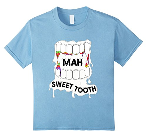 Kids Smiling Vampire Teeth Sweet Tooth Tee Halloween T-Shirt 10 Baby Blue (Top 10 Halloween Facts)