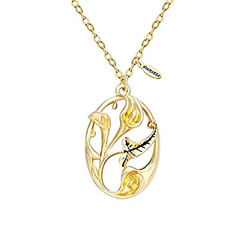 NOUMANDA Gold Tone Calla Lily Oval Pendant Long Adjustable Vintage Sweater (Gold Tone Oval Necklace)