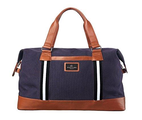 """WIND & VIBES BLOUBERG """"BLACK"""" - Weekender Reisetasche aus Baumwoll Canvas und Echtleder (Handgepäckmaße). Handgefertigte Design Tasche aus marineblauem Canvas und Cognac Leder."""
