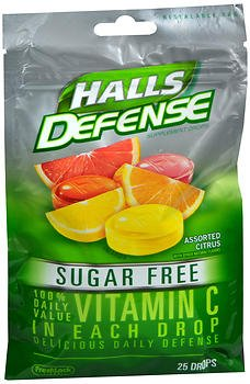 Halls Defense Vitamin C Drops Sugar Free Assorted Citrus - 25 ct, Pack of 4