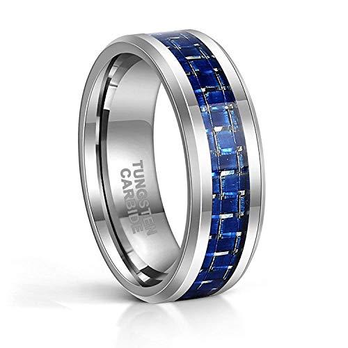 Frank S.Burton 8mm Blue Carbon Fiber Tungsten Carbide Ring for Men Beveled Edge Wedding Band Comfort Fit Size 6-13