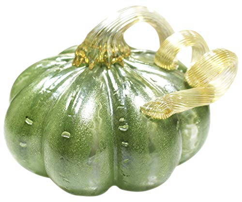 Vicreatwin Hand Blown Glass Pumpkin Collectible Table Accent for Fall Harvest Halloween Thanksgiving Decorating Ellipse Ornament 5.1 Inch -