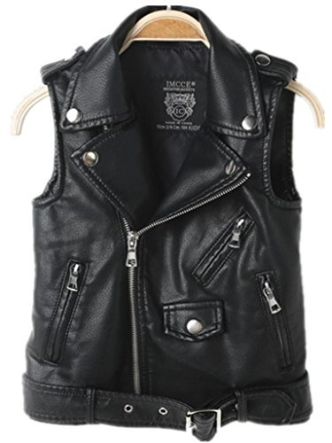 Faux leather Motorcycle Dress Casual Girls Joker Vest, (Black), Medium by LUCKFACE (Image #1)