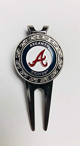 Team Golf Atlanta Braves Divot Tool and Ball Marker (Belt Clip Style)