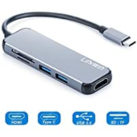 USB C Adapter, Type C HDMI Adapter, USB C Hub with Multiport USB 3.0,SD/TF Card Reader for MacBook Pro 2016/2017, Google Chromebook, Samsung Galaxy S8/S9,HP/Dell (NewGray)